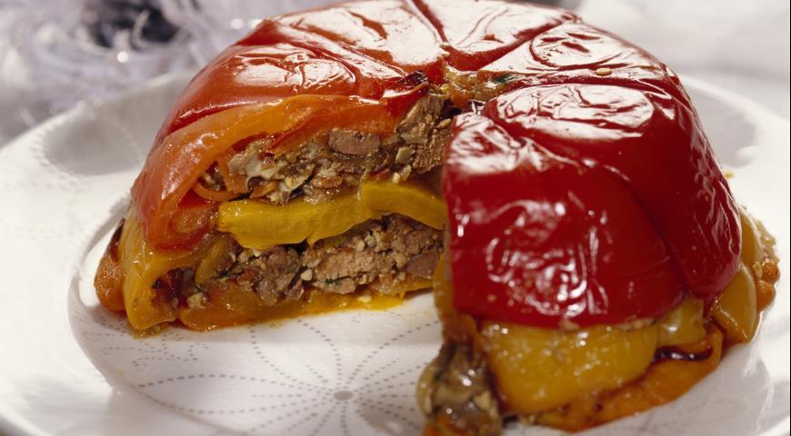 Рецепт Террин из сладких перцев с печеночным салатом