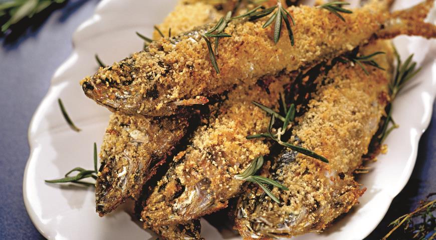 Рецепт Сардины в орехово-цитрусовой панировке