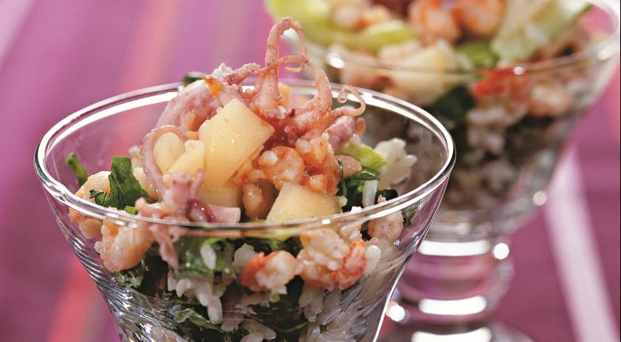 Рецепт Салат с креветками и копченым осьминогом