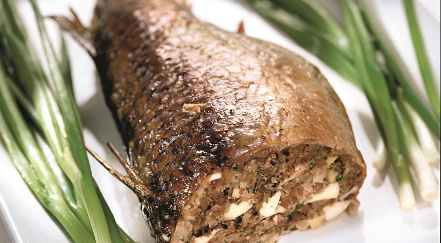 Рецепт Кефаль, фаршированная грибами и гречкой