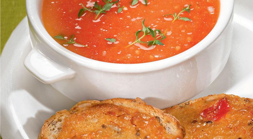 Рецепт Тыквенный суп с острыми крутонами