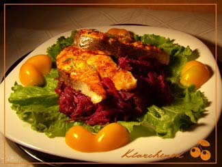 Рецепт Жареный лосось с красной капустой по-ирландски