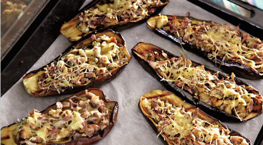Рецепт Баклажаны, фаршированные куриными желудками