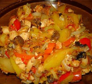 Рецепт Филе цыпленка с шампиньонами и овощами