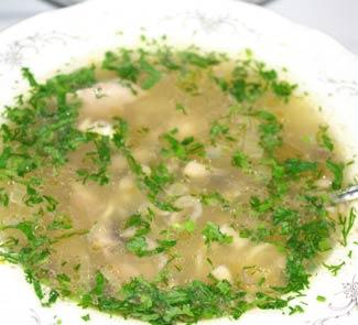 Рецепт Суп-лапша с куриными потрохами, грудкой и грибами
