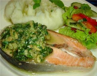 Рецепт Рыба под зеленым соусом