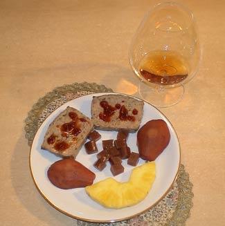 Рецепт Паштет из индейки с фруктовым гарнитуром и винным желе