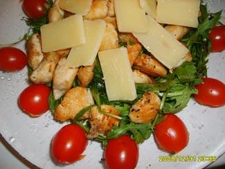 Рецепт Салат рукола с куриным филе и пармезаном