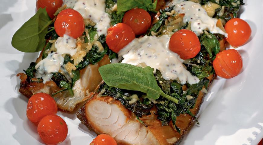Рецепт Копченая рыба со шпинатом