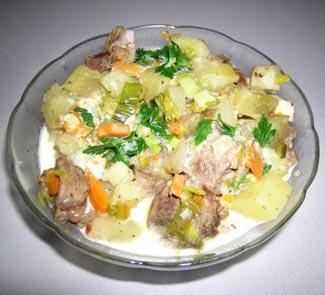 Рецепт Тушеная баранина с овощами в белом соусе