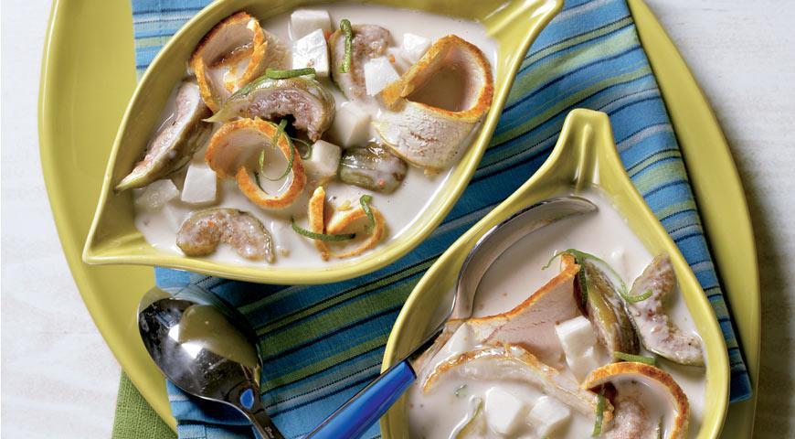 Рецепт Кокосовый суп с инжиром и курицей
