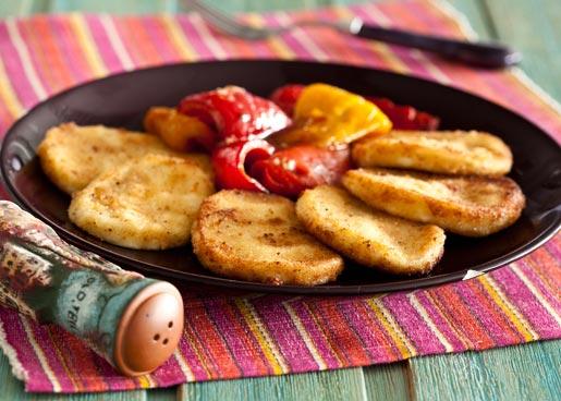 Рецепт Жареный сулугуни с гарниром из перца