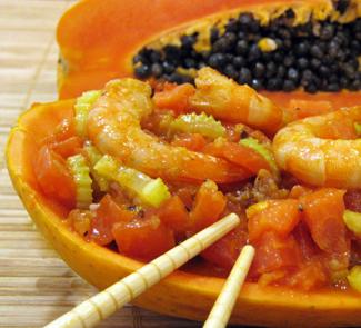 Рецепт Папайя с креветками