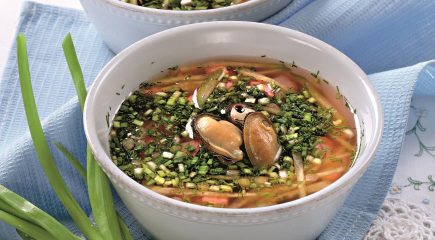 Рецепт Холодный суп из ревеня с мидиями