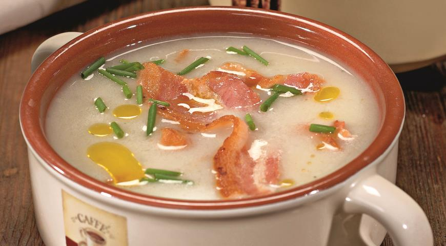 Рецепт Сельдерейный суп с копченой грудинкой