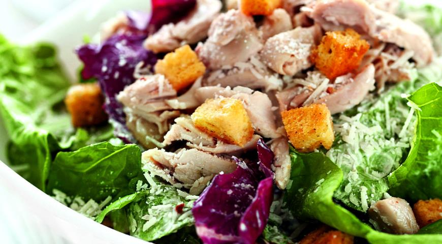 Напишите рецепт салата цезарь