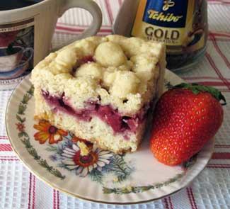Рецепт Обсыпной клубничный пирог