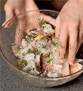 Шашлики з риби з креветками