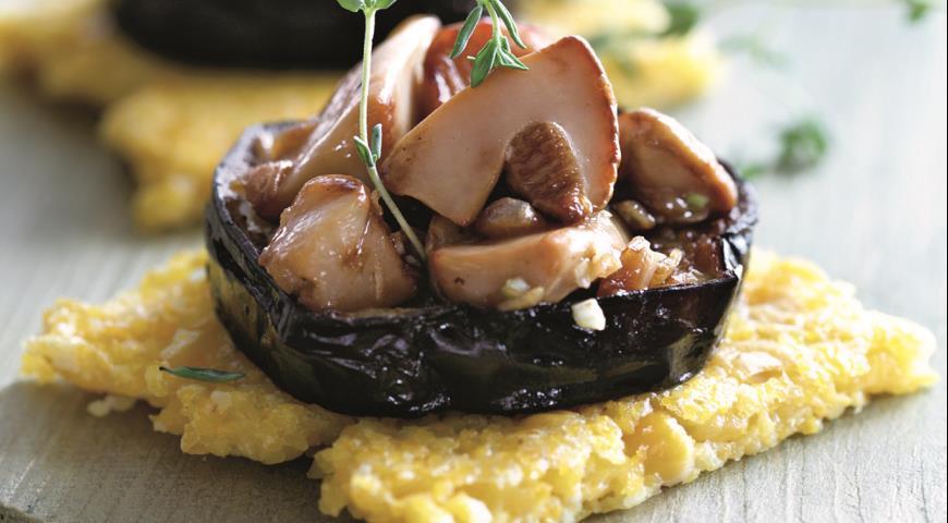 Рецепт Полента с баклажанами и грибами