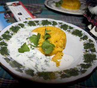 Рецепт Морковный пудинг с соусом из кориандра