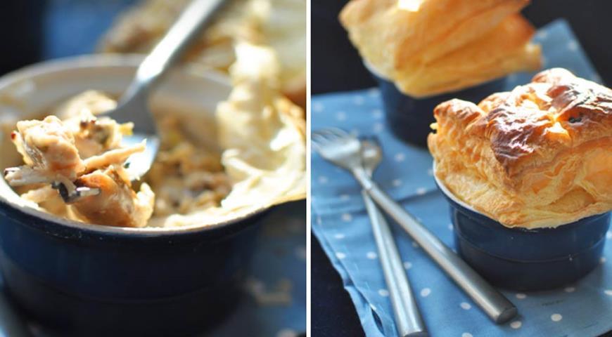 Рецепт Курица с луком-пореем и грибами, запеченные под одеялом из слоеного теста