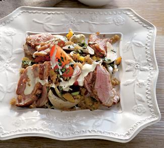 Рецепт Теплый салат с уткой и йогуртово-горчичной заправкой