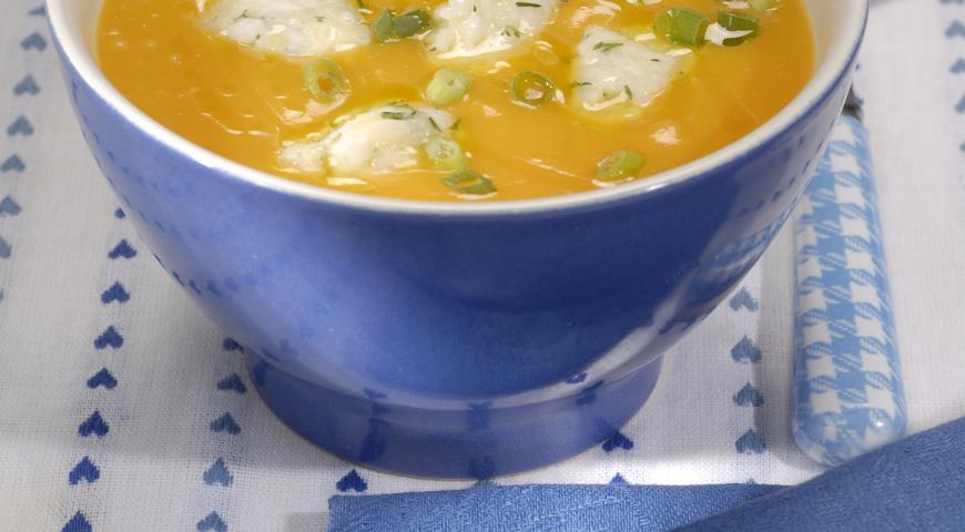 Рецепт Тыквенный суп с рисовыми клецками
