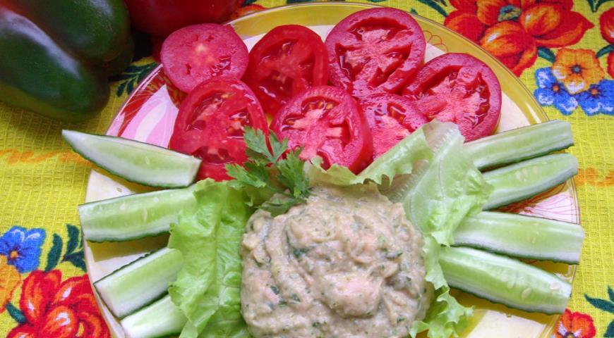Рецепт Вкусный пост: быстрый хумус из фасоли с сырыми овощами