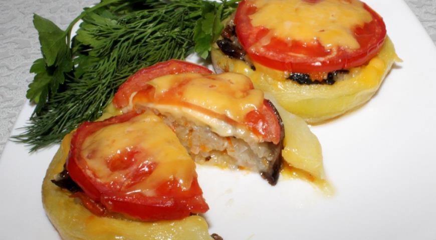 Рецепт Кабачки, фаршированные грибами