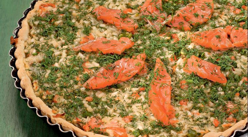 Рецепт Французский киш с рисом и лососем