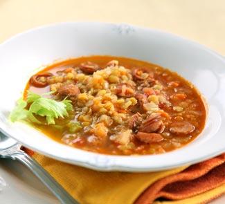Рецепт Чечевичная похлебка с сосисками