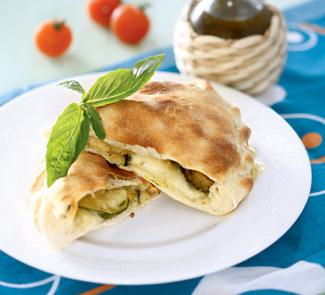 Рецепт Кальцоне с цукини, оливками и моцареллой