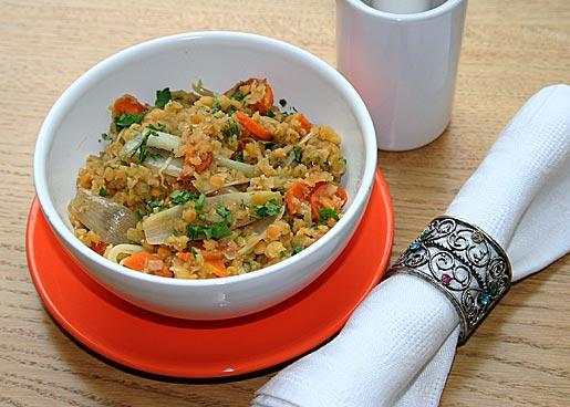 Рецепт Ароматная чечевица с овощами