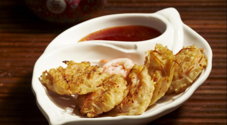 Рецепт Оладьи из картофеля, тыквы и креветок