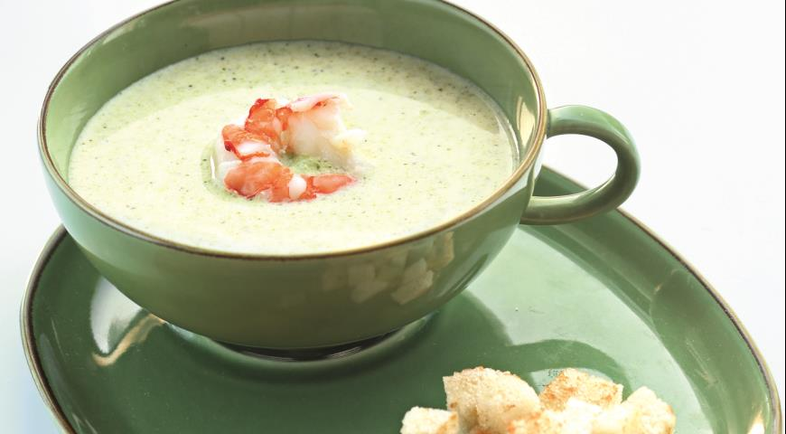 Рецепт Суп из брокколи с креветками и крутонами
