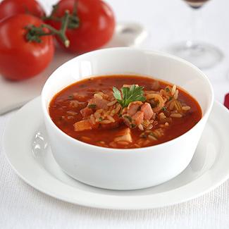 Рецепт Томатный суп с копченой грудинкой в мультиварке