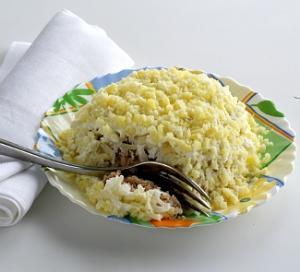 салат мимоза с луком рецепт с фото