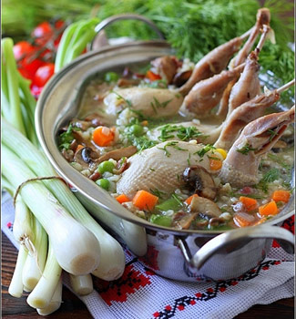 Рецепт Суп из перепелок с булгуром и овощами