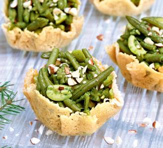 Рецепт Сырные корзиночки с зеленой фасолью