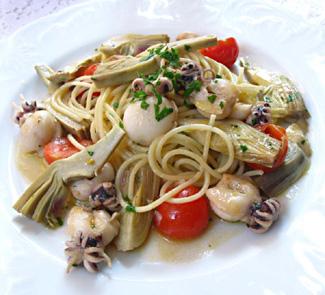 Рецепт Спагетти с каракатицами, артишоками и помидорами черри