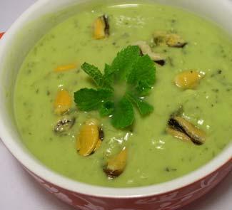 Рецепт Суп из авокадо с мидиями