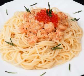 Рецепт Спагетти с креветками и красной икрой