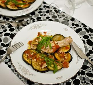 Рецепт Poulet d'Arles - цыпленок с баклажанами