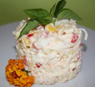 Рецепт Легкий салат с крабовым мясом