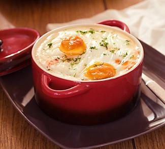 Рецепт Яйца кокот на курятине с овощами