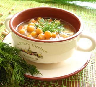 Рецепт Куриный суп с нутом и укропом