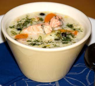 Рецепт Сливочный суп с лососем