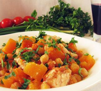 Рецепт Курица с тыквой и нутом по-египетски
