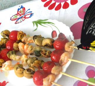 Рецепт Средиземноморский шашлычок из морепродуктов