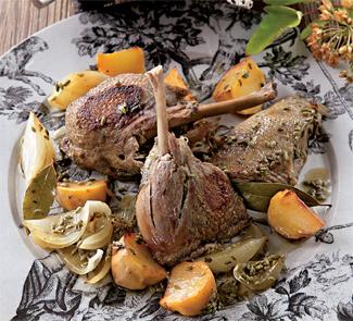 Рецепт Тушеная утка с репой и белым луком
